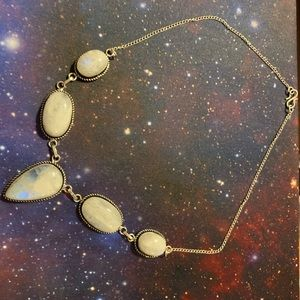 Rainbow Moonstone Necklace 925 Silver Plated